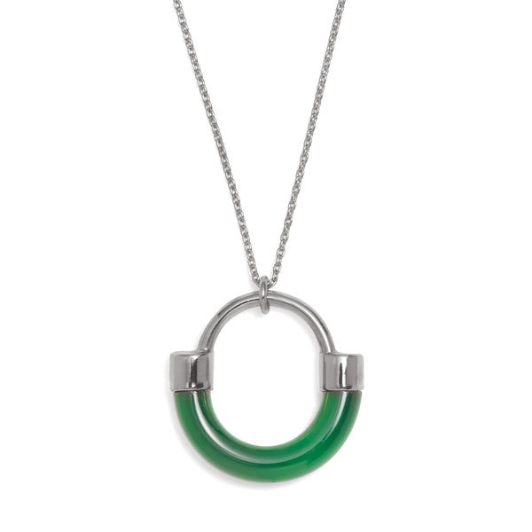 Fraction Necklace in Rhodium and Emerald