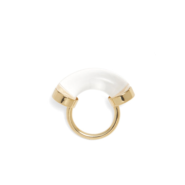 Fraction Ring in Gold and Clear