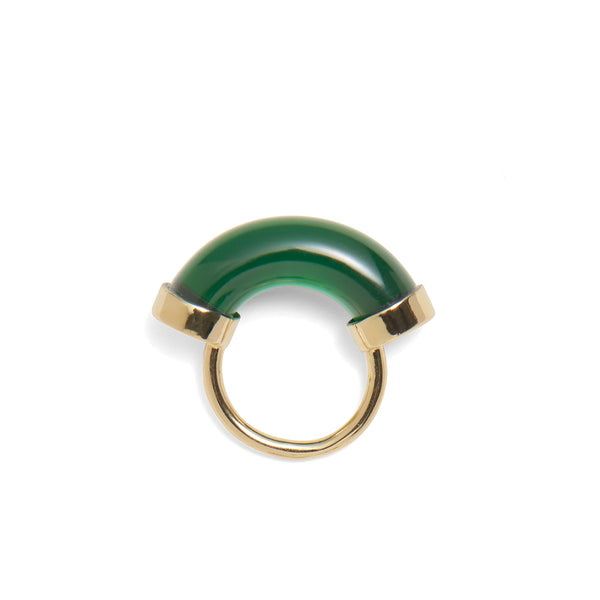 Fraction Ring in Gold and Emerald