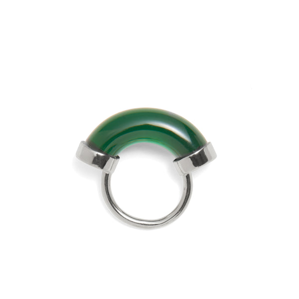 Fraction Ring in Rhodium and Emerald