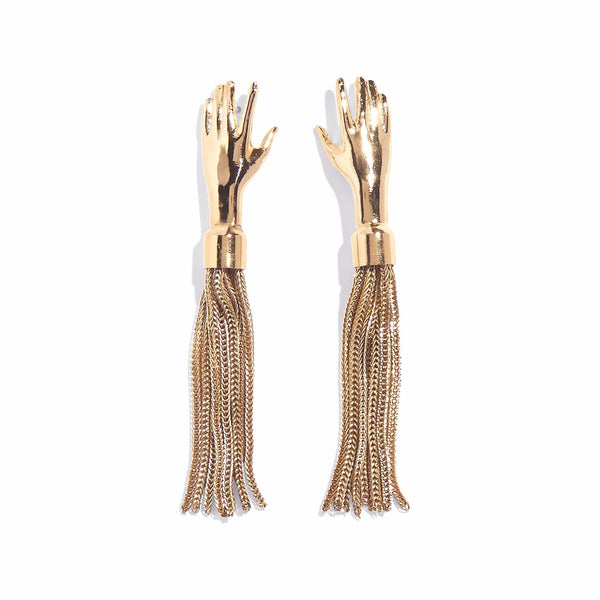 Hand Tassel Earring in Gold