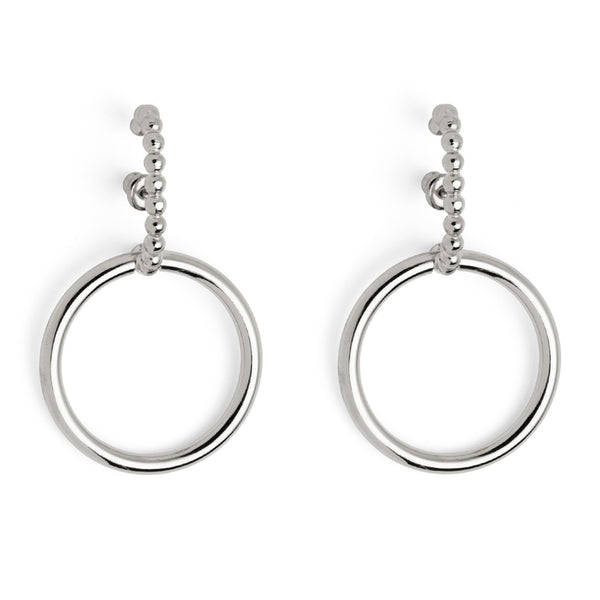 Pearled Intersect Earring in Silver