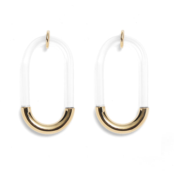 Lucite Link Earrings in Gold and Clear