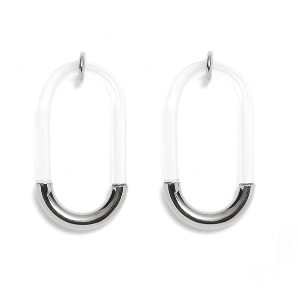 Lucite Link Earring in Rhodium and Clear
