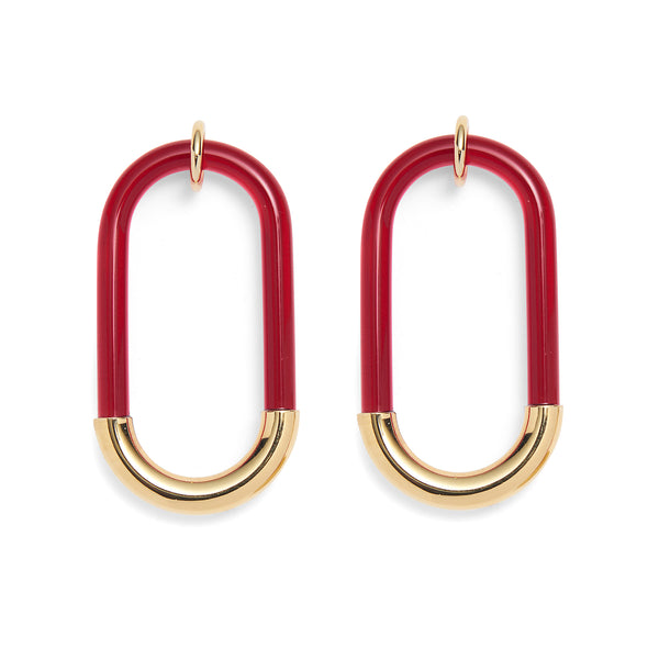 Lucite Link Earrings in Gold and Red