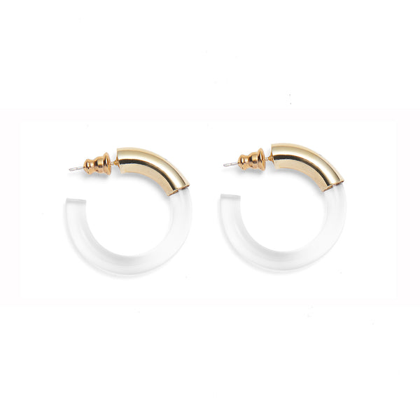 Mini Mirage Hoops in Gold and Clear
