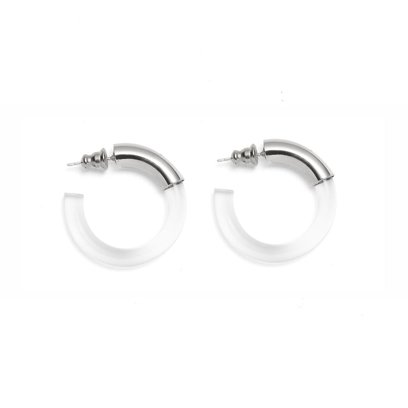 Lady Grey Jewelry Mini Mirage Hoops in Rhodium and Clear
