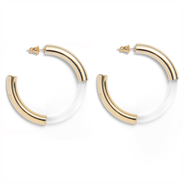 Mirage Hoops in Gold and Clear