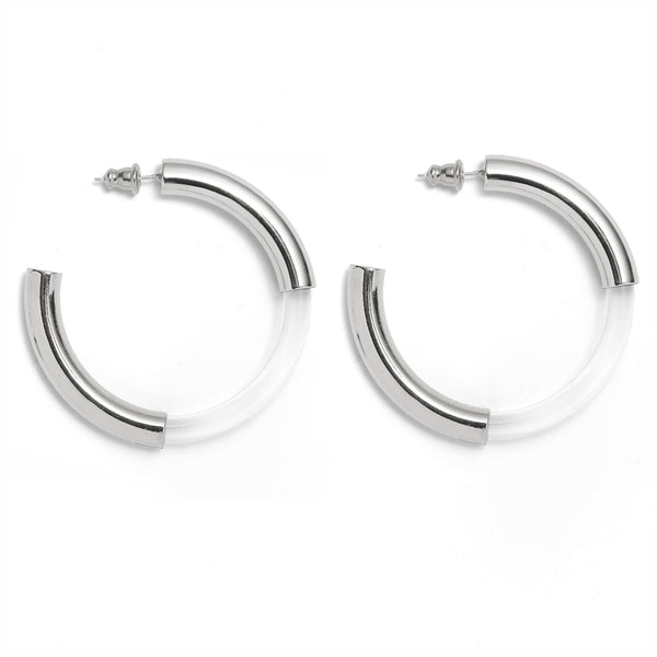 Mirage Hoops in Rhodium and Clear