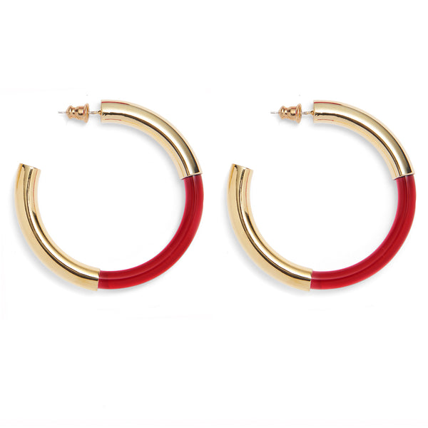 Mirage Hoops in Gold and Red