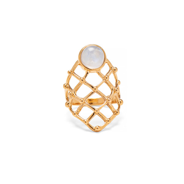 Moonstone Lattice Ring in Gold