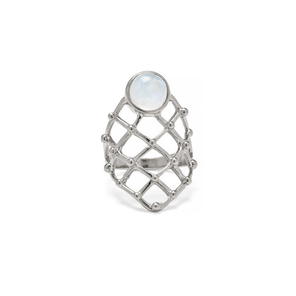 Moonstone Lattice Ring in Silver