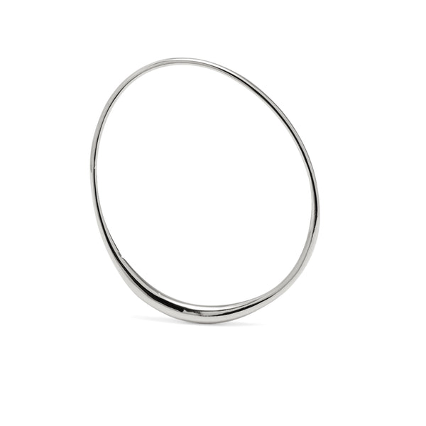 Roe Bangle in Rhodium