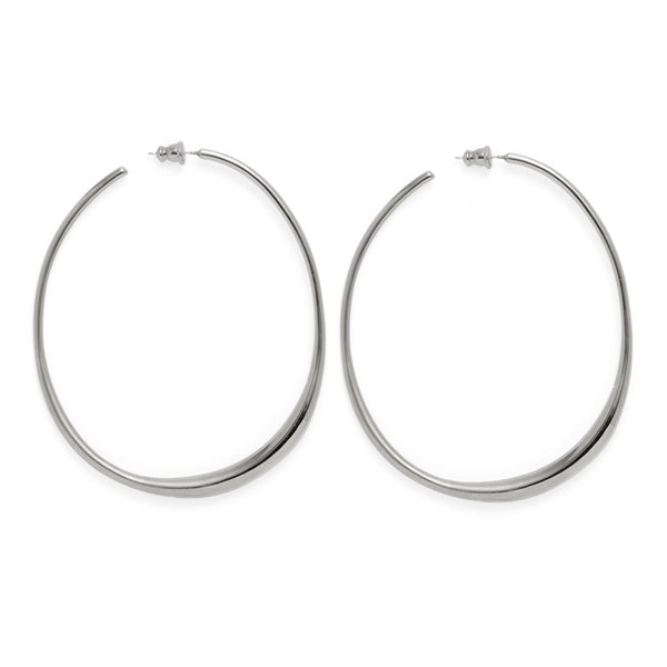 Roe Hoops in Rhodium