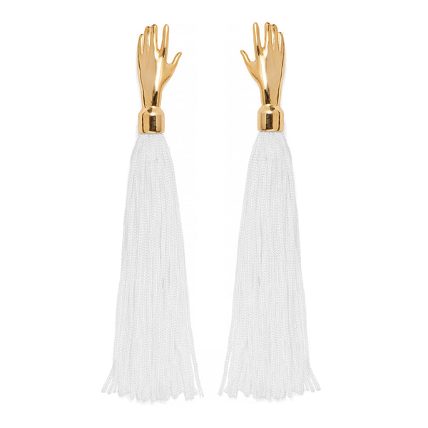 Hand Silk Tassel Earring in Gold