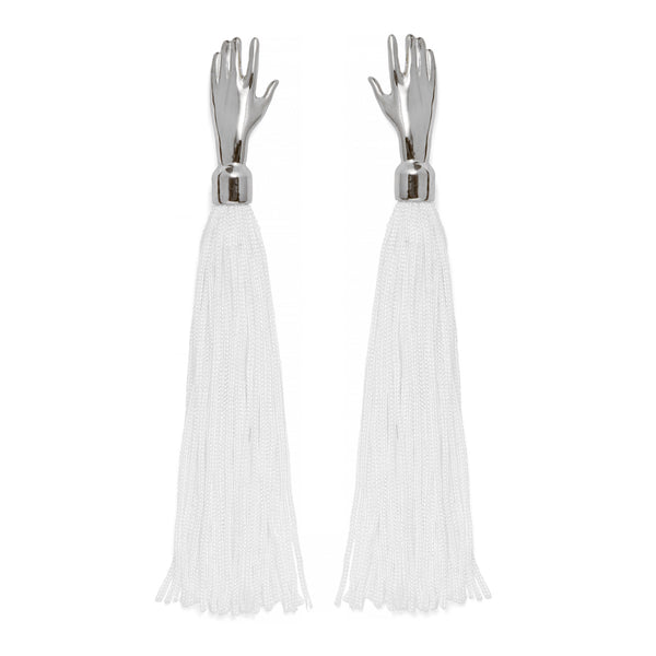 Hand Silk Tassel Earring in Silver