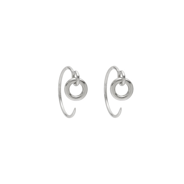 Small Eyelet Hoops in Rhodium