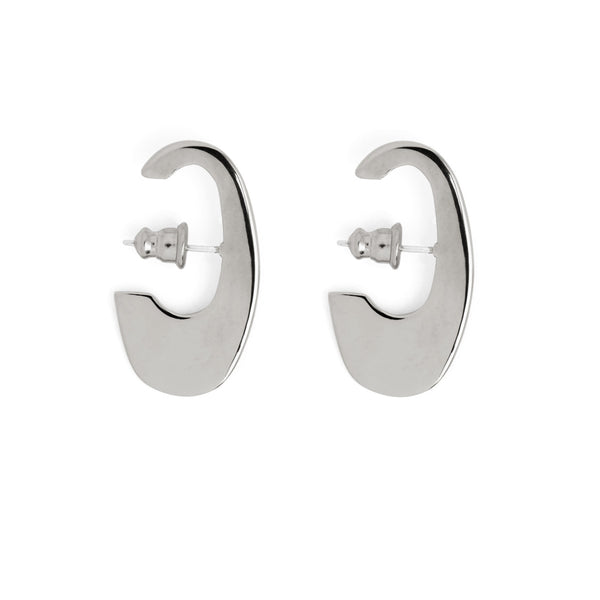 Small Ovoid Earring in Rhodium