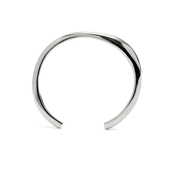 Thin Organic Cuff in Rhodium