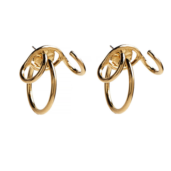 Triple Hoop Ear Jacket in Gold