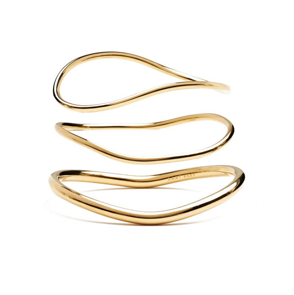 Wave Bangle Set in Gold