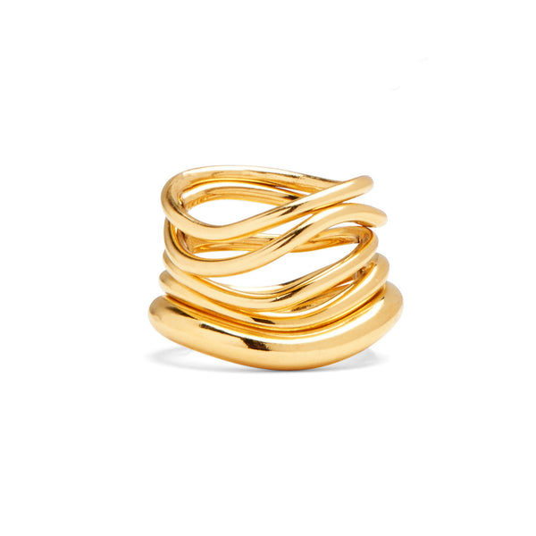 Wave Ring Set in Gold