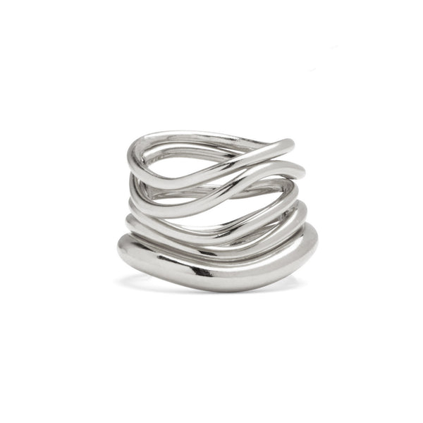 Wave Ring Set in Rhodium