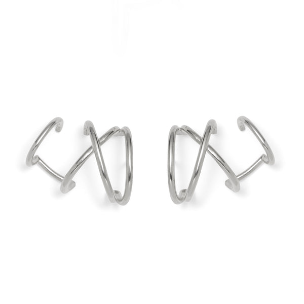 X Ear Cuff in Rhodium