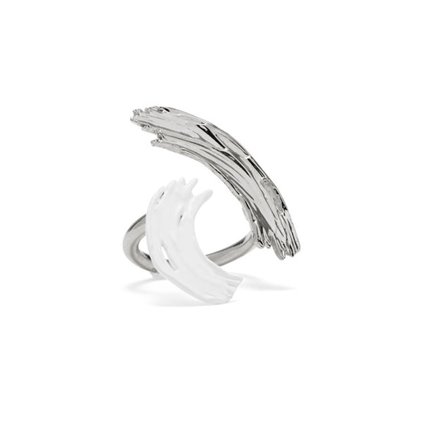 Louise Ring in Rhodium and White