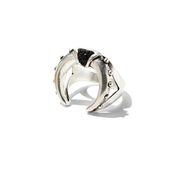 Mini Crescent Ring in Silver with Jet