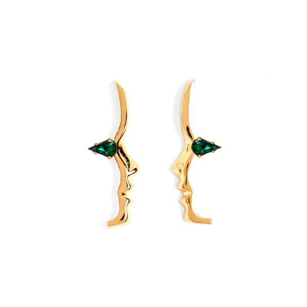 Mini Emerald Crystal Silhouette Studs in Gold