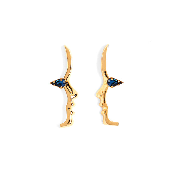 Mini Sapphire Crystal Silhouette Studs in Gold