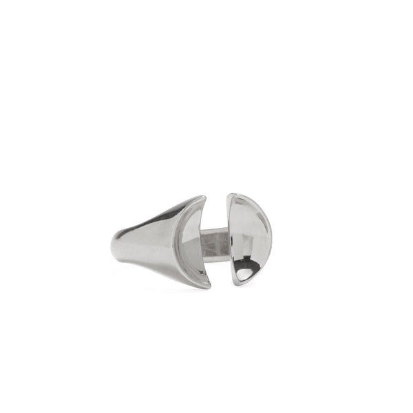 Split Signet Ring in Rhodium