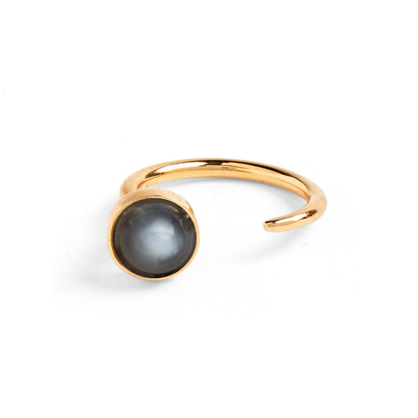 Tangent Ring in Gold with Grey Moonstone