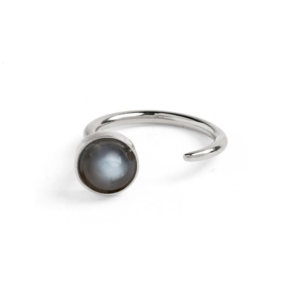 Tangent Ring in Silver with Grey Moonstone