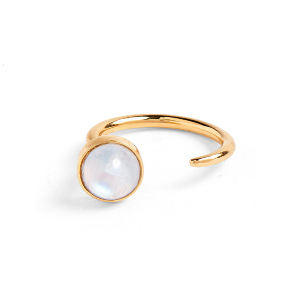 Tangent Ring in Gold with Rainbow Moonstone