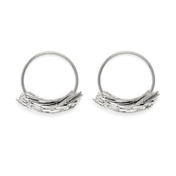 Brushstroke Hoops in Rhodium