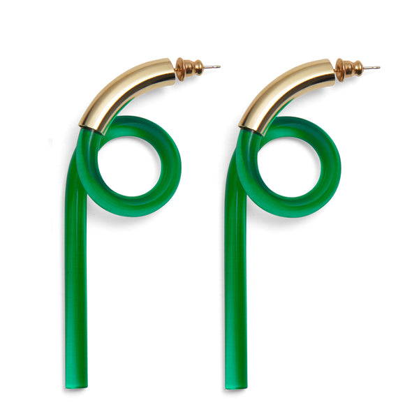 Spiral Lucite Earrings in Gold and Emerald