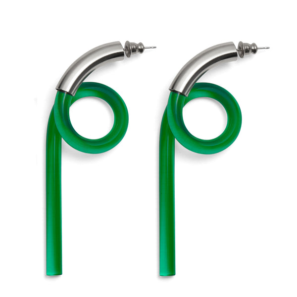 Spiral Lucite Earrings in Rhodium and Emerald