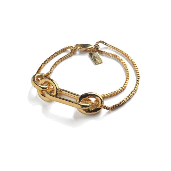 Trés Link Bracelet in Gold