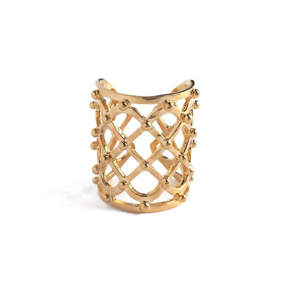 Studded Lattice Ring in Gold