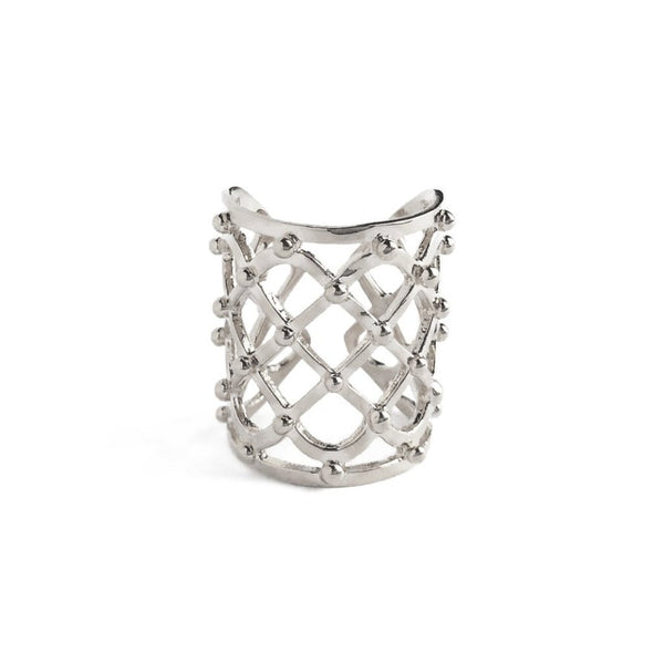Studded Lattice Ring in Silver