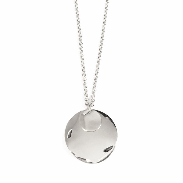 Wave Disc Necklace in Silver
