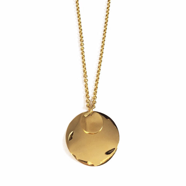 Wave Disc Necklace in Gold