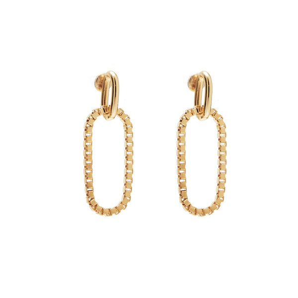 Box Link Earrings in Gold