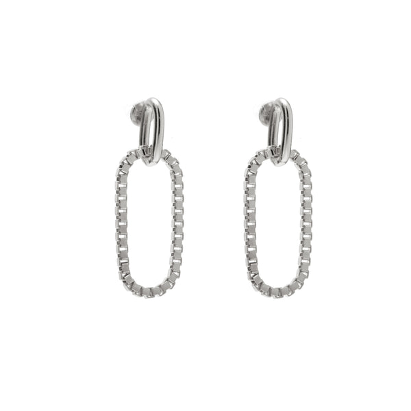 Box Link Earrings in Rhodium