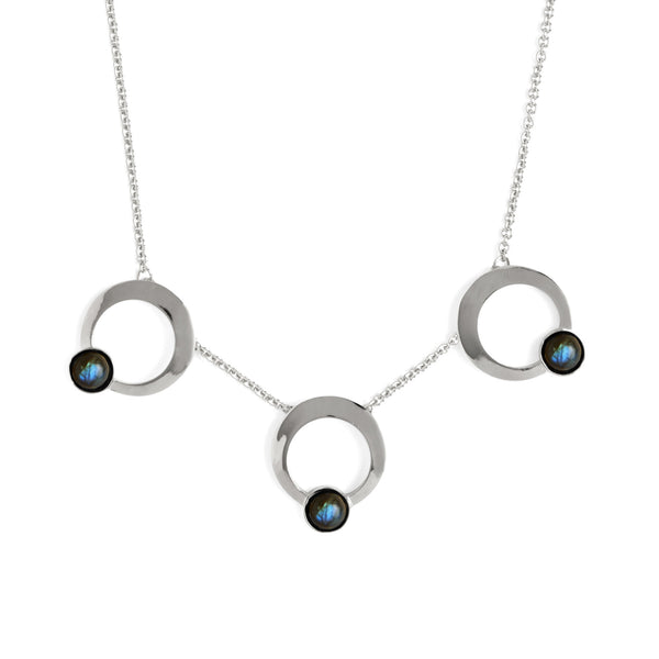 Triple Halo Necklace in Silver