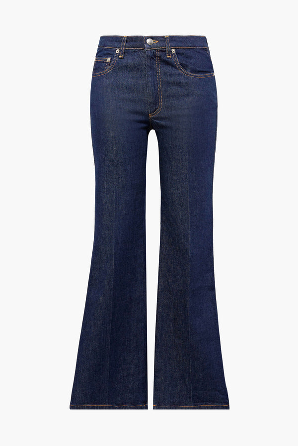 Pantalon Saint-Germain 5 poches en denim bleu brut.