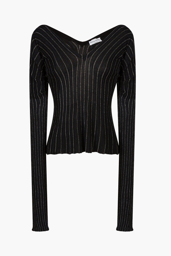 Lurex knit long sleeved top