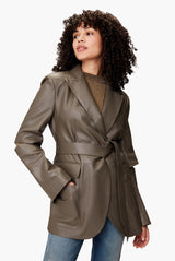 Leather Belted Suit Jacket